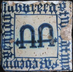 Manises tile with Gothic text
