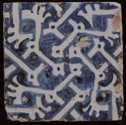 Manises tile with Tibia bones
